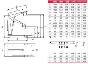 Dimensiuni si capacitati pentru macara hidraulica tip girafa