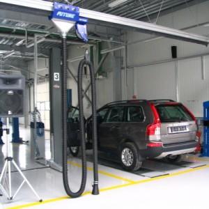 Sisteme de exhaustare gaze de esapament cu carucior mobil pe sina aeriana
