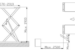 Dimensiuni elevator auto tip foarfeca dubla FI2