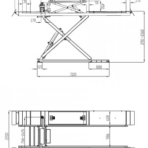 Dimensiuni elevator foarfeca ATH Heinl, model SH5000HA, pentru directie