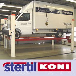 Elevatoare STERTIL cu 4 coloane pentru camioane si utilitare