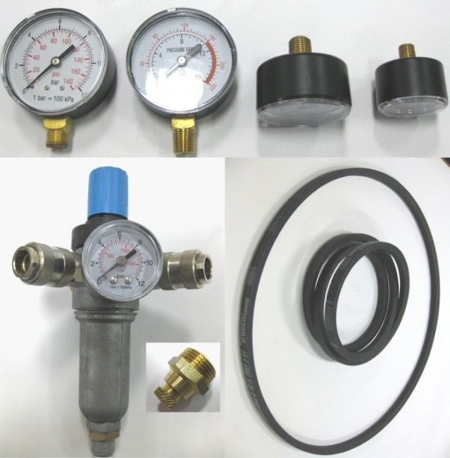 Regulator de presiune, manometre, curele, robineti de purjare condens