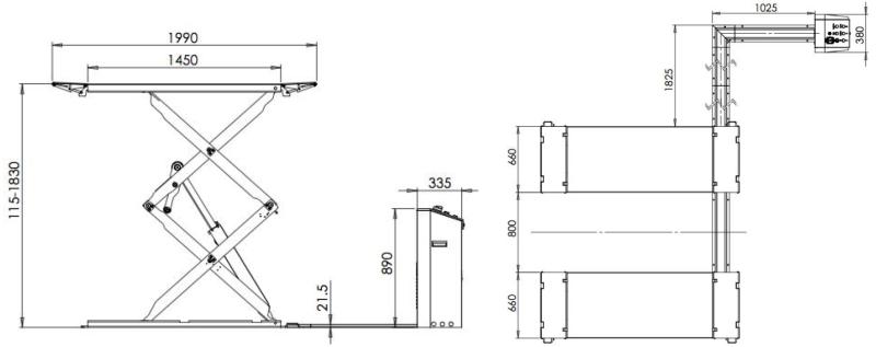 Dimensiuni foarfeca pe pardoseala Safe