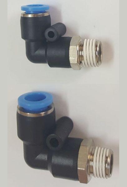 Conector push-in plastic L pentru aer comprimat