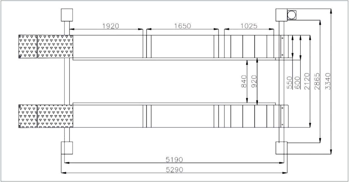 Dimensiuni platforme elevator ATH Heinl cu 4 coloane