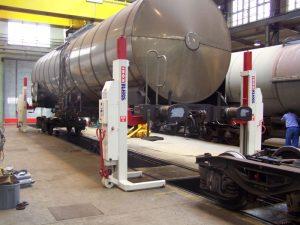 elevator cu coloane mobile ridica vagoane
