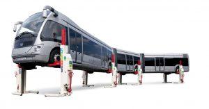 elevator cu coloane mobile pentru ridicare autobuze articulate de mari dimensiuni