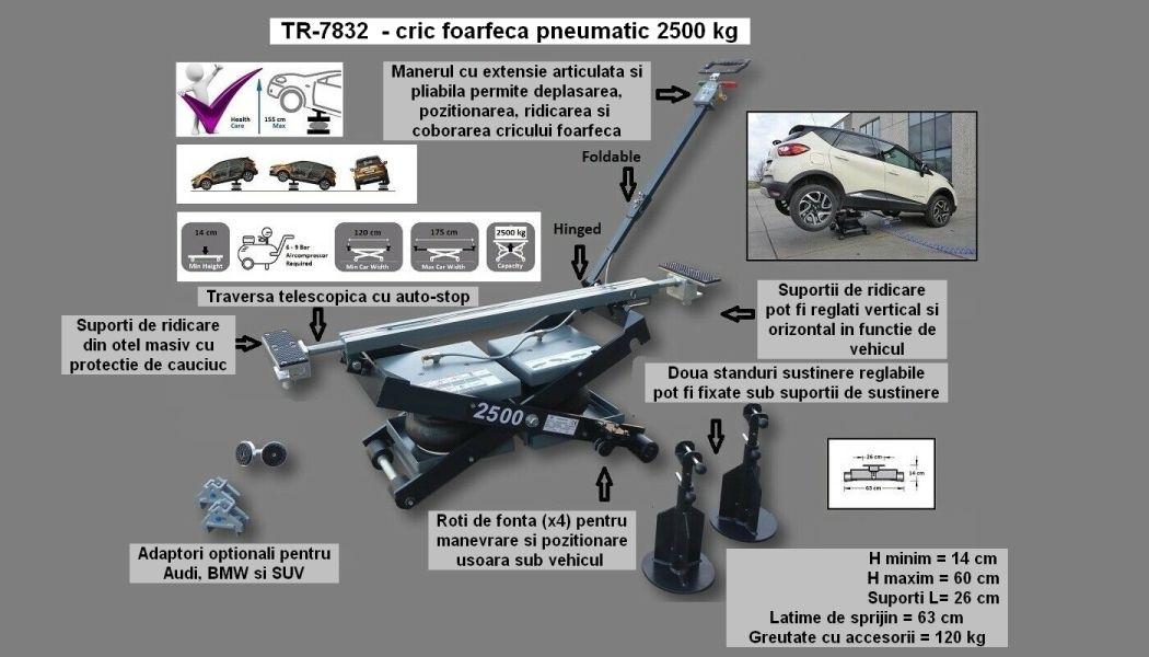 TR-7832 - cric foarfeca pneumatic 2.5 tone